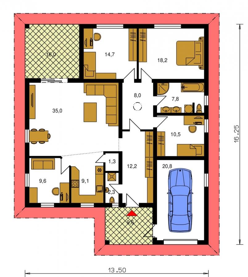 Pôdorys Prízemia - Projekt rodinného domu s garážou a priestrannou obývacou izbou.