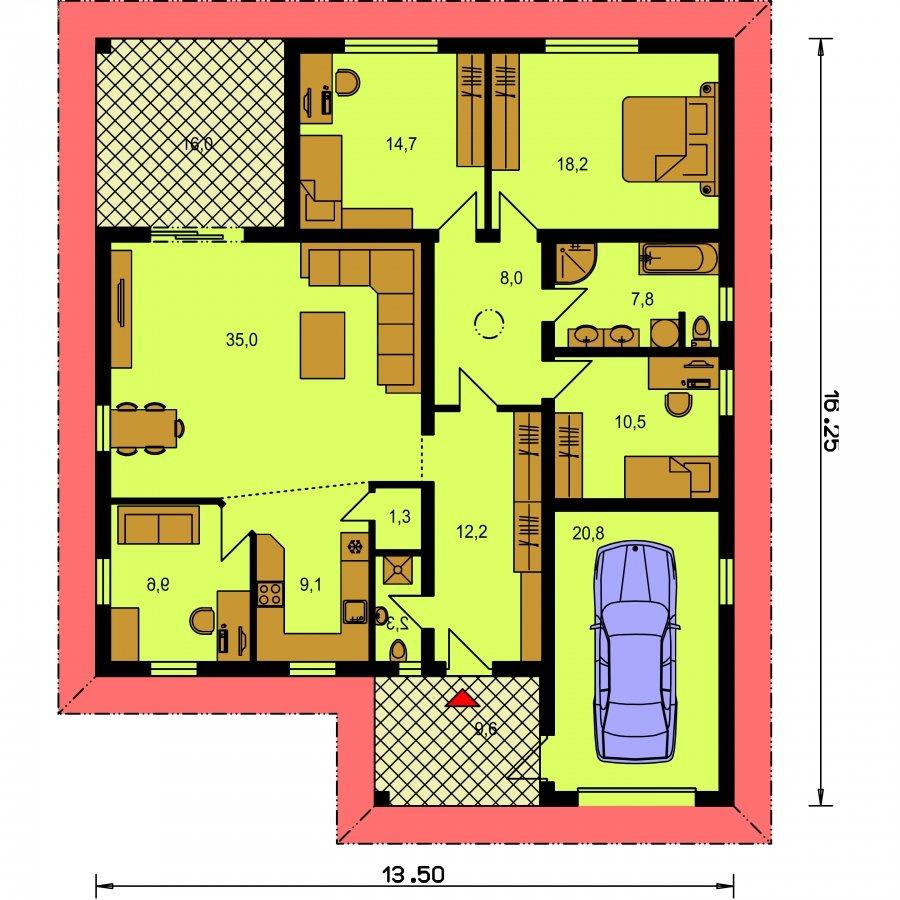 Pôdorys Prízemia - Projekt rodinného domu s garážou