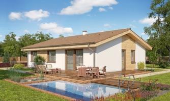 Murovaný projekt rodinného domu na úzky pozemok so sedlovou strechou, je zrealizovaný ako drevodom, je spracovaný v 3d realite s umiestnením na pozemok