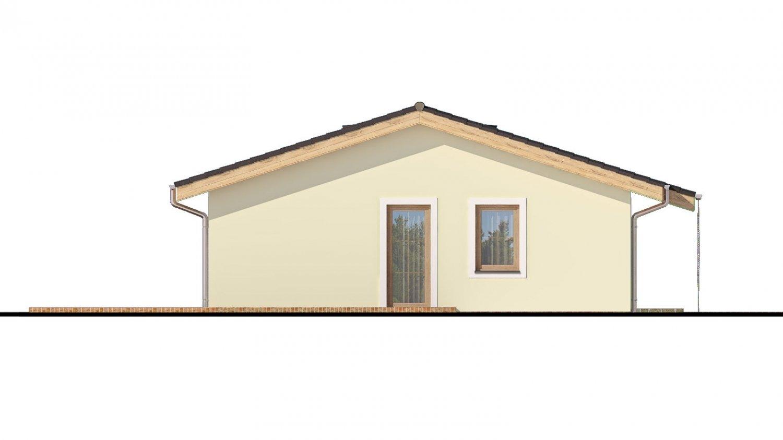 Pohľad 4. - Murovaný projekt rodinného domu na úzky pozemok so sedlovou strechou. Spracovaný v 3d realite s umiestnením na pozemok.
