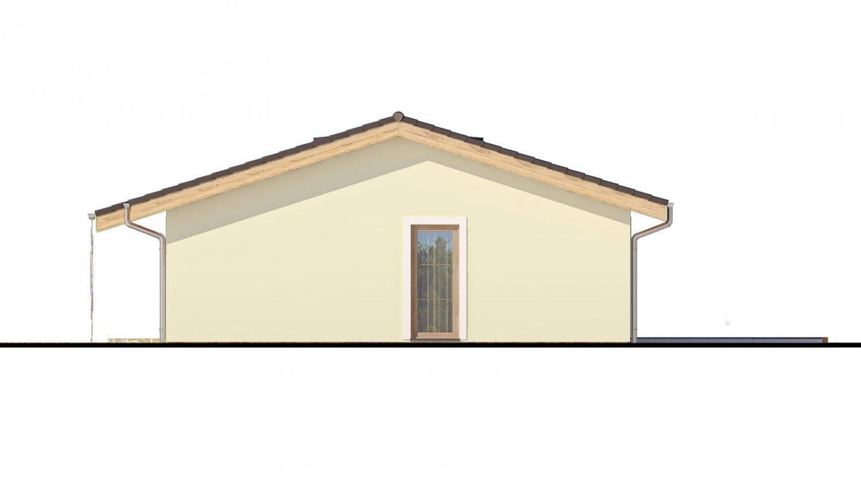 Pohľad 2. - Murovaný projekt rodinného domu na úzky pozemok so sedlovou strechou. Spracovaný v 3d realite s umiestnením na pozemok.