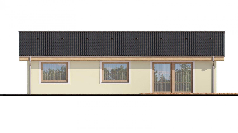 Pohľad 3. - Murovaný projekt rodinného domu na úzky pozemok so sedlovou strechou. Spracovaný v 3d realite s umiestnením na pozemok.