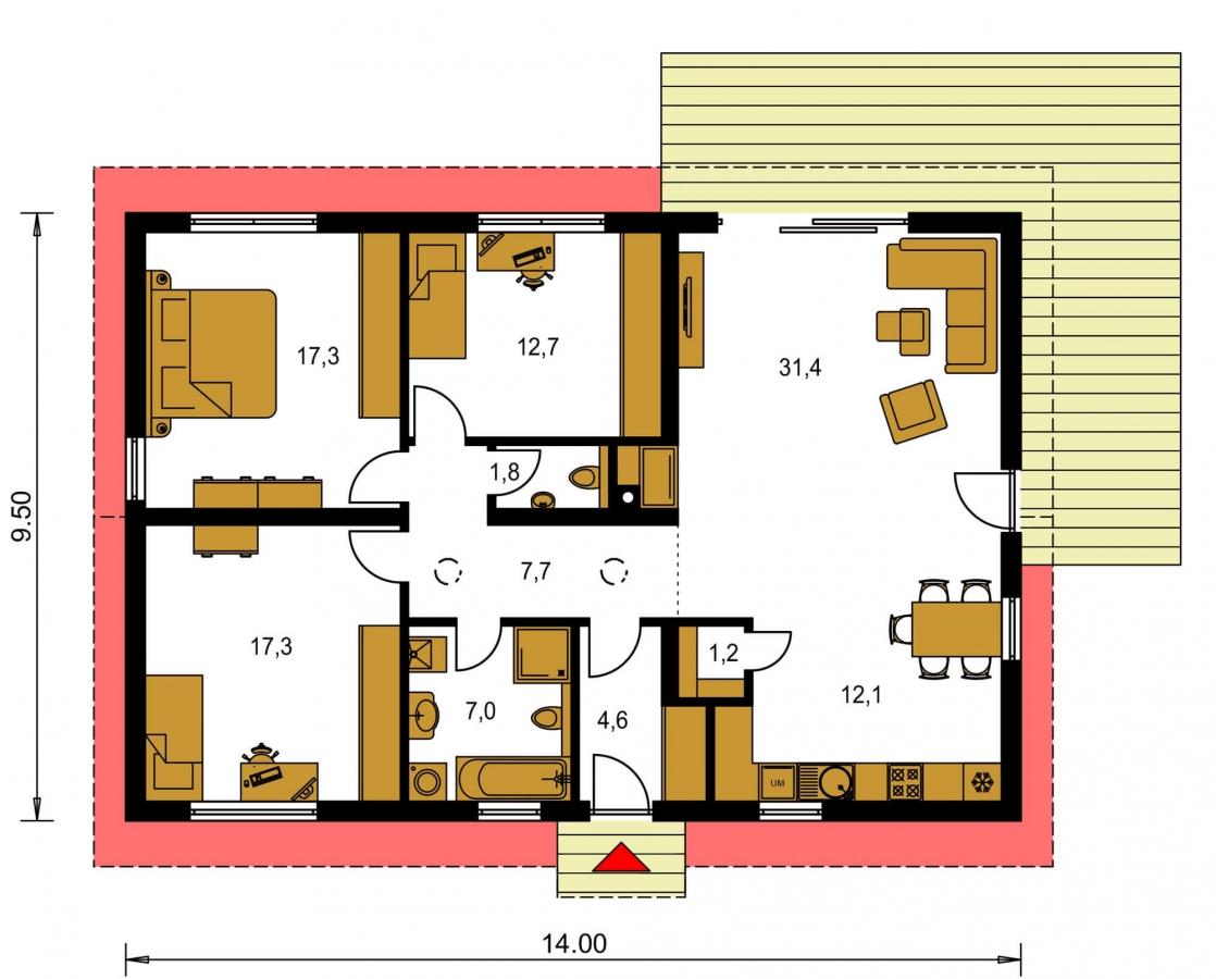 Pôdorys Prízemia - Murovaný projekt rodinného domu na úzky pozemok so sedlovou strechou. Spracovaný v 3d realite s umiestnením na pozemok.