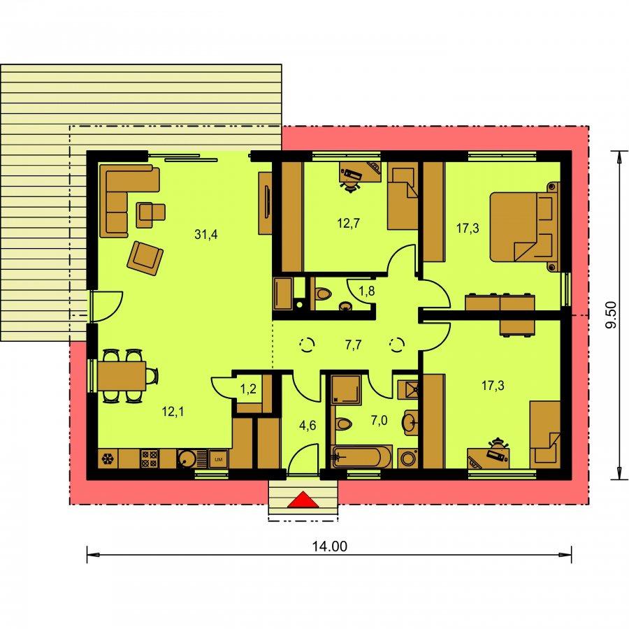 Pôdorys Prízemia - Murovaný projekt rodinného domu na úzky pozemok so sedlovou strechou