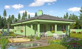 Projekt prízemného domu s garážou.