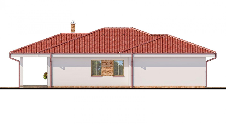 Pohľad 4. - Projekt prízemného domu s garážou.