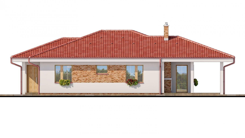 Pohľad 2. - Projekt prízemného domu s garážou.