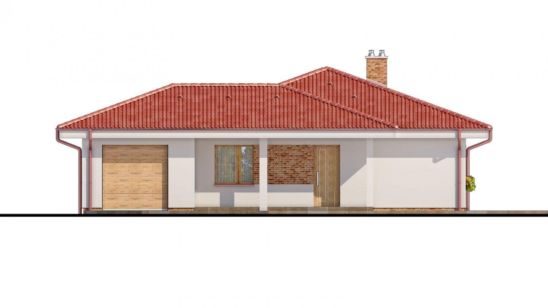 Pohľad 1. - Projekt prízemného domu s garážou.