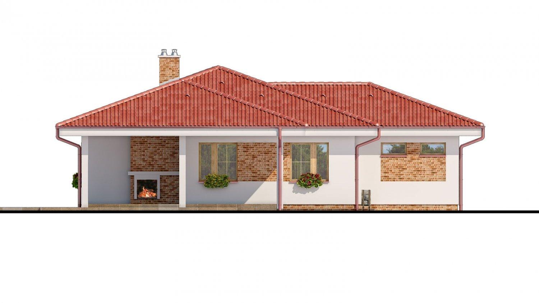 Pohľad 3. - Projekt prízemného domu s garážou.