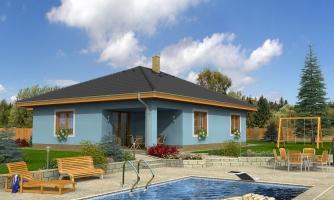 Projekt domu bungalov s valbovou strechou a krytou terasou.