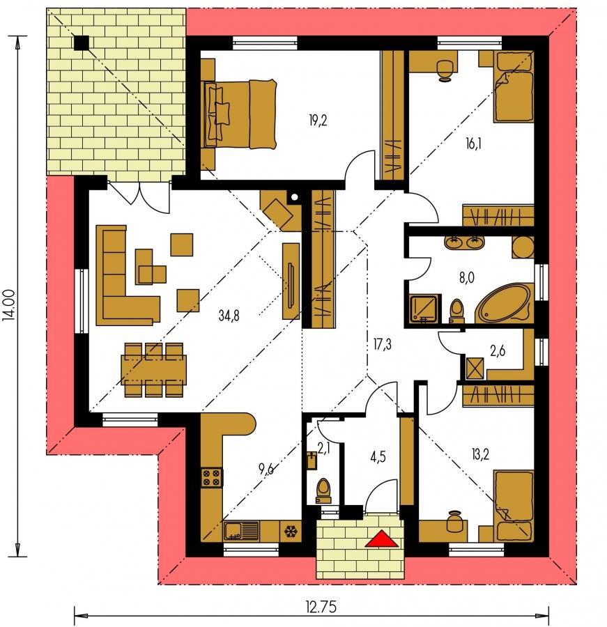 Pôdorys Prízemia - Projekt domu bungalov s valbovou strechou a krytou terasou.
