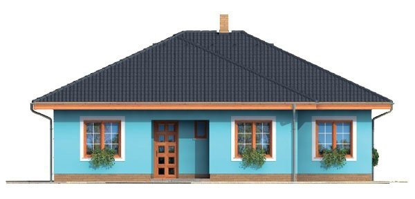 Pohľad 1. - Projekt domu bungalov s valbovou strechou a krytou terasou.