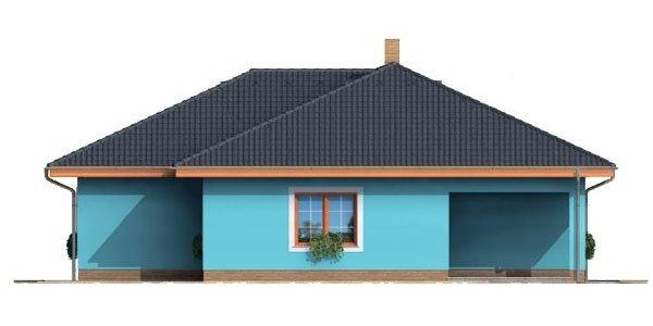 Pohľad 2. - Projekt domu bungalov s valbovou strechou a krytou terasou.
