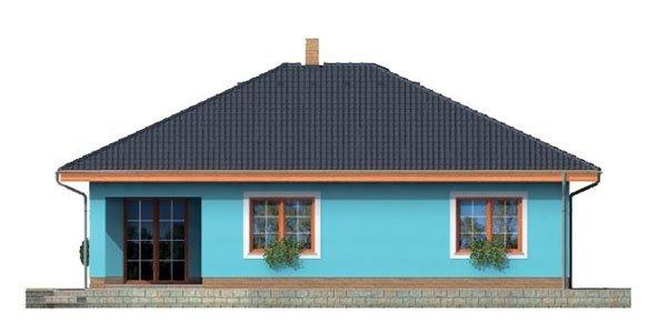Pohľad 3. - Projekt domu bungalov s valbovou strechou a krytou terasou.
