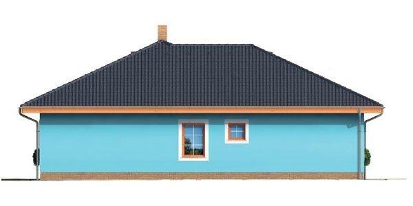 Pohľad 4. - Projekt domu bungalov s valbovou strechou a krytou terasou.