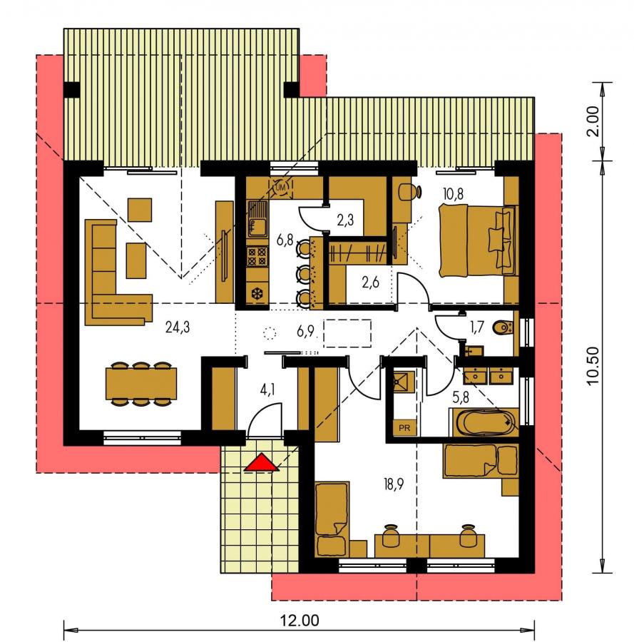 Pôdorys Prízemia - Malý 3-izbový dom s krytou terasou.