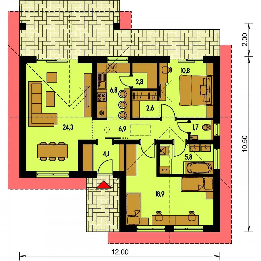 Pôdorys Prízemia - Projekt domu do L