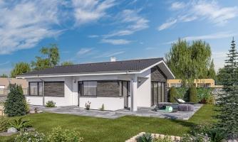 Moderný bungalov na úzky pozemok.
