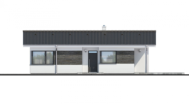 Pohľad 1. - Moderný bungalov na úzky pozemok.