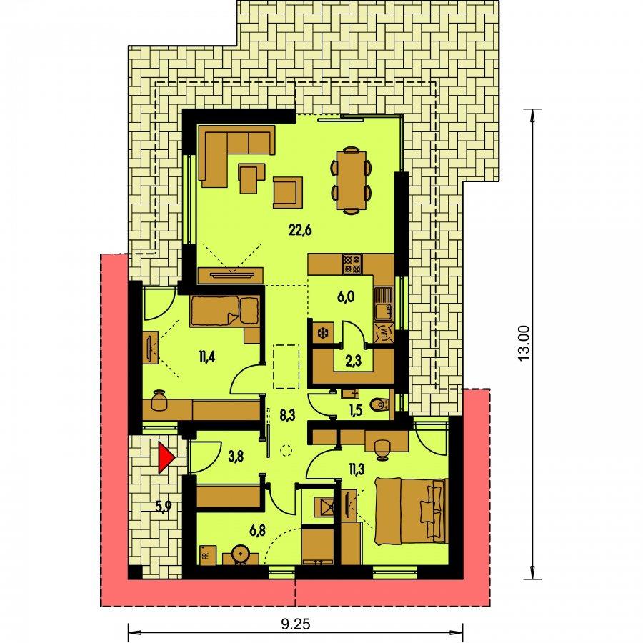Pôdorys Prízemia - Malý projekt rodinného domu