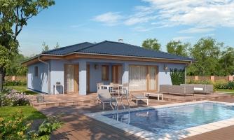 Projekt domu s terasou, je spracovaný v 3d virtuálnej realite
