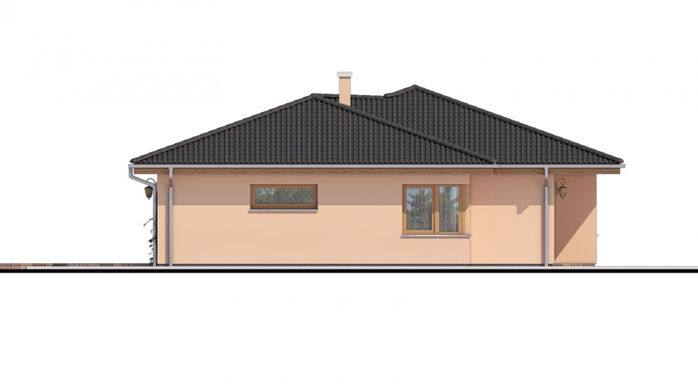 Pohľad 4. - Projekt domu s terasou, je spracovaný v 3d virtuálnej realite, je postavený aj ako montovaný drevodom