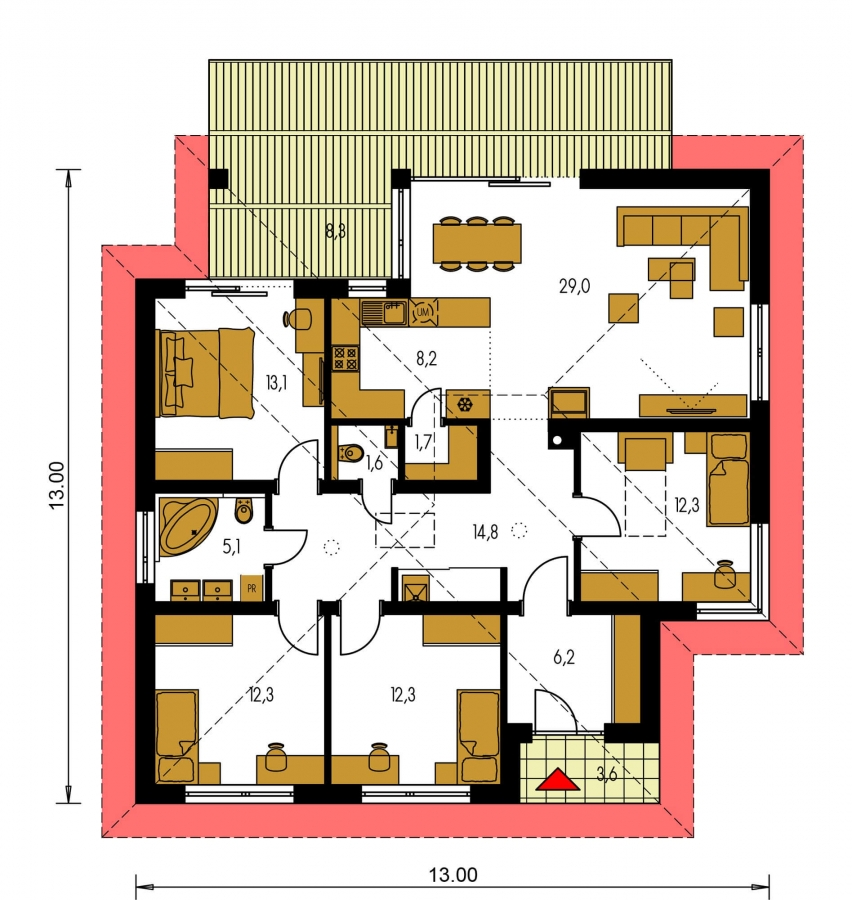 Pôdorys Prízemia - Projekt domu s terasou, je spracovaný v 3d virtuálnej realite, je postavený aj ako montovaný drevodom