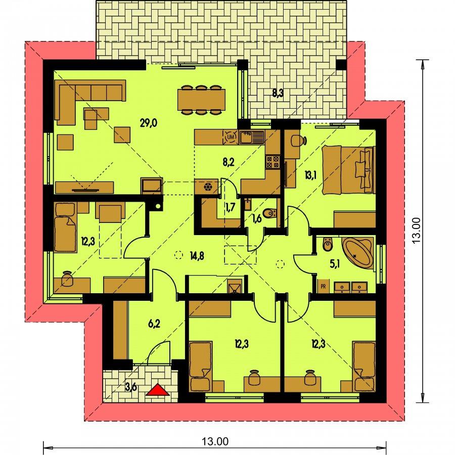 Pôdorys Prízemia - Projekt domu s terasou