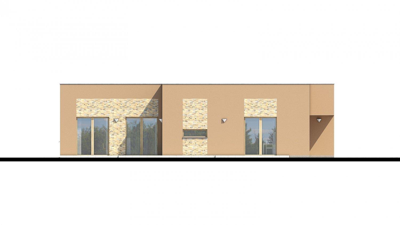 Pohľad 4. - Moderný dom s plochou strechou.