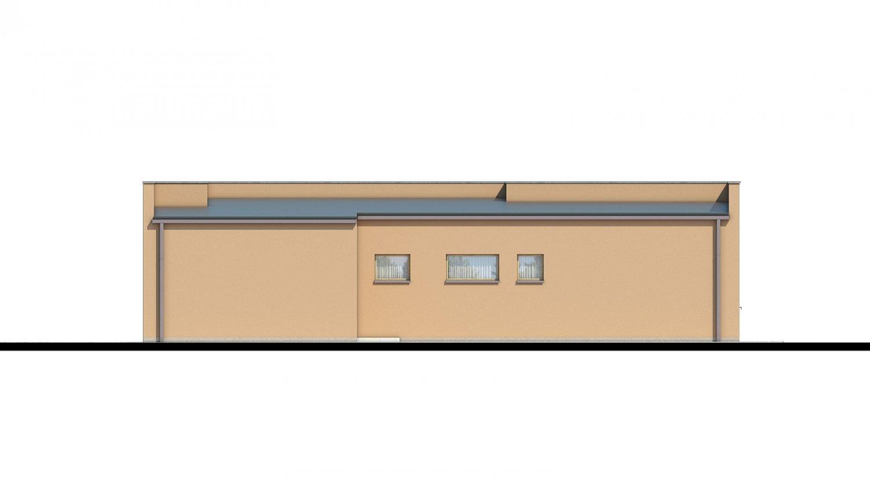 Pohľad 2. - Moderný dom s plochou strechou.