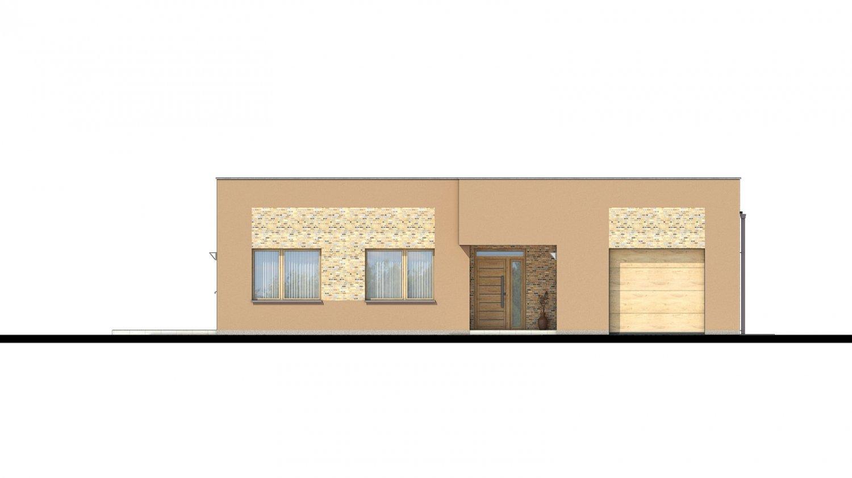 Pohľad 1. - Moderný dom s plochou strechou.