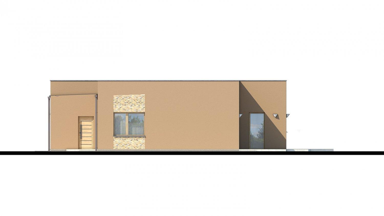 Pohľad 3. - Moderný dom s plochou strechou.