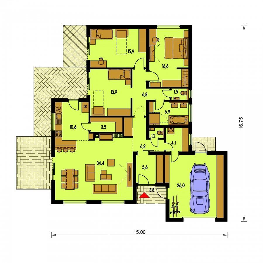 Pôdorys Prízemia - Moderný dom s plochou strechou