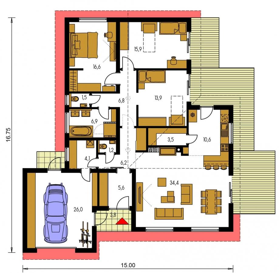 Pôdorys Prízemia - 4-izbový rodinný dom s garážou. Možnosť spraviť z garáže izbu.
