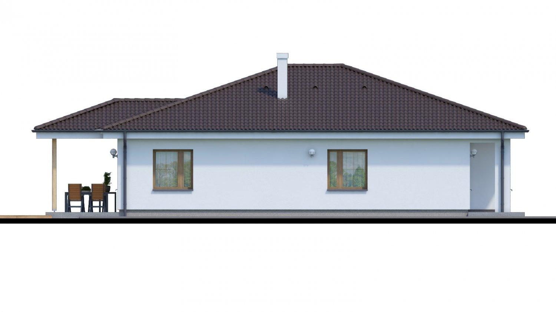 Pohľad 4. - Jednoduchý 5-izbový rodinný dom s valbovou strechou. Spracovaný aj vo virtuálnej realite 3d.