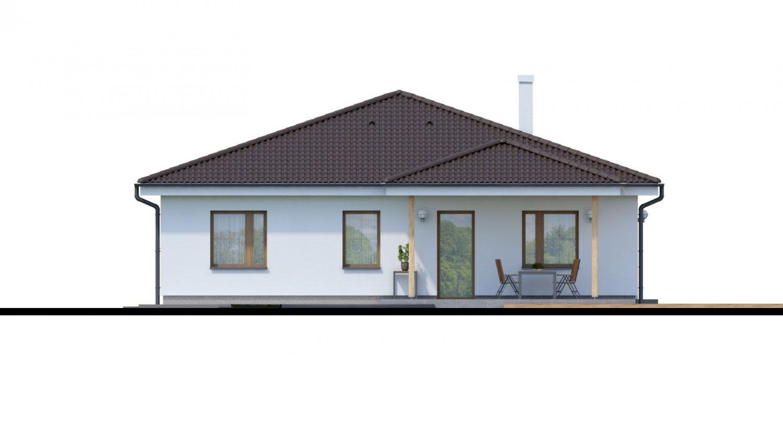 Pohľad 3. - Jednoduchý 5-izbový rodinný dom s valbovou strechou. Spracovaný aj vo virtuálnej realite 3d.