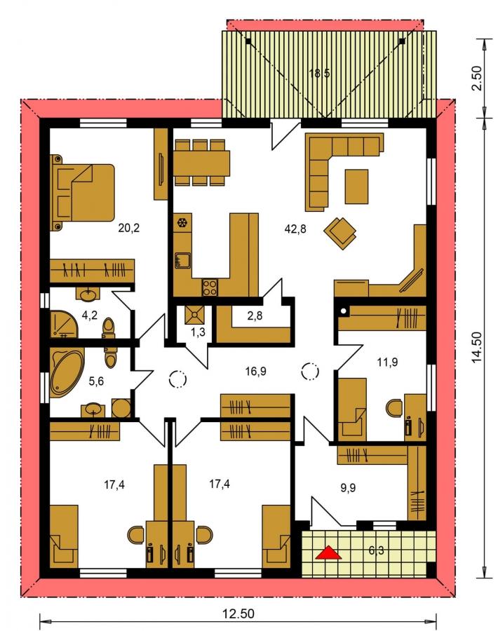 Pôdorys Prízemia - Jednoduchý 5-izbový rodinný dom s valbovou strechou. Spracovaný aj vo virtuálnej realite 3d.