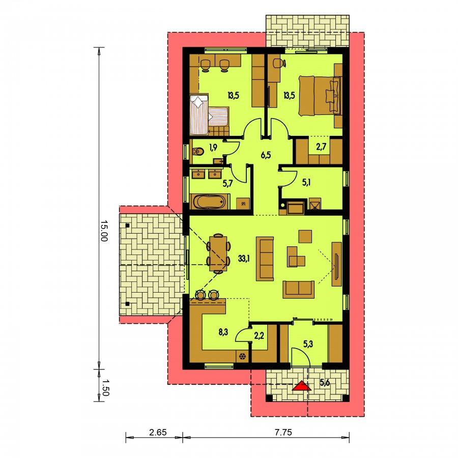 Pôdorys Prízemia - Projekt domu na úzky pozemok