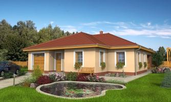 Prízemný dom s garážou a oddelenou nočnou časťou, dom má prekrytú terasu, z garáže je možné zrealizovať izbu