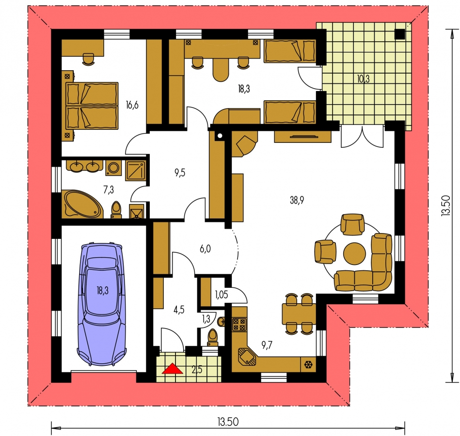 Pôdorys Prízemia - Prízemný dom s garážou a oddelenou nočnou časťou, dom má prekrytú terasu, z garáže je možné zrealizovať izbu