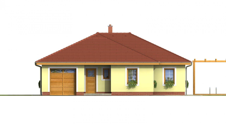 Pohľad 1. - Prízemný dom s garážou. Má prekrytú terasu. Z garáže je možné zrealizovať izbu.