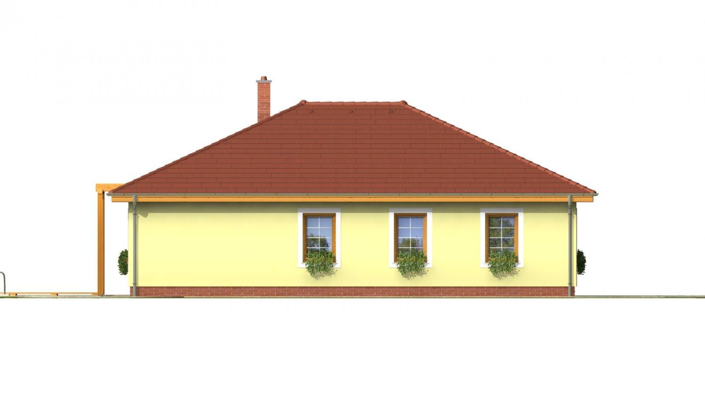 Pohľad 2. - Prízemný dom s garážou. Má prekrytú terasu. Z garáže je možné zrealizovať izbu.