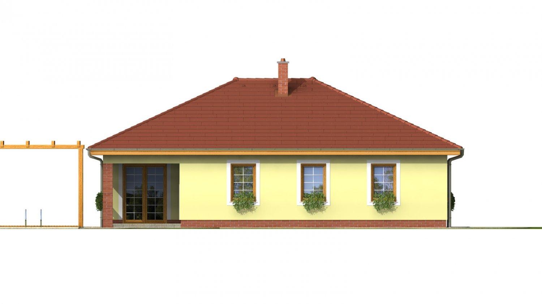 Pohľad 3. - Prízemný dom s garážou. Má prekrytú terasu. Z garáže je možné zrealizovať izbu.