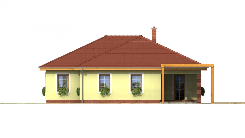 Pohľad 4. - Prízemný dom s garážou. Má prekrytú terasu. Z garáže je možné zrealizovať izbu.