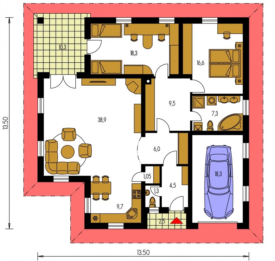 Pôdorys Prízemia - Prízemný dom s garážou. Má prekrytú terasu. Z garáže je možné zrealizovať izbu.