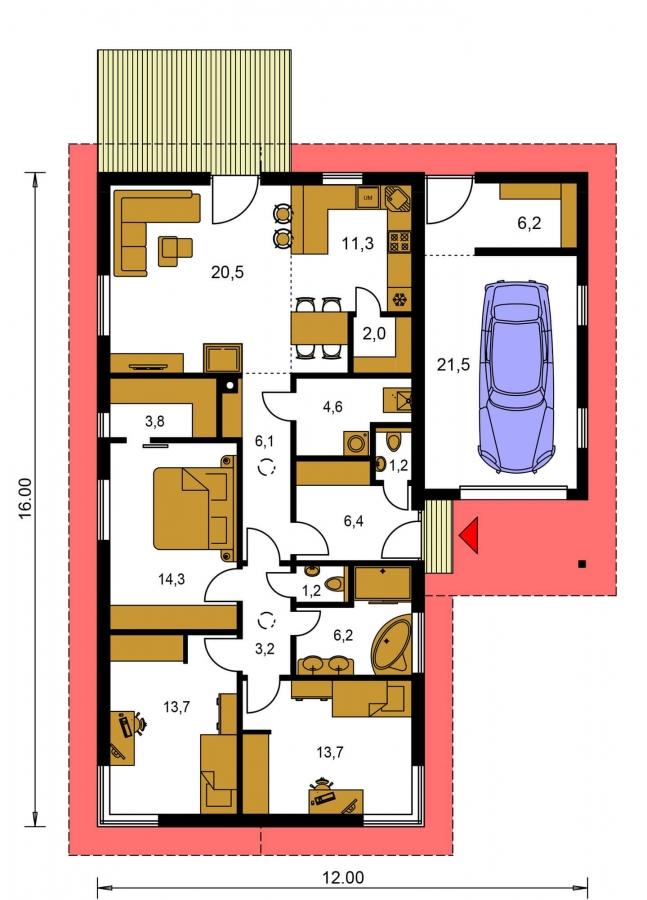 Pôdorys Prízemia - 4-izbový projekt domu s garážou.