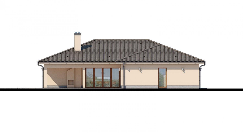 Pohľad 4. - Rodinný dom do tvaru L s terasou.