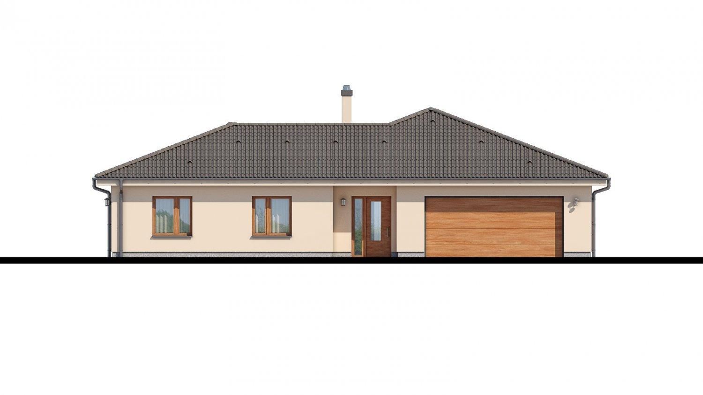 Pohľad 1. - Rodinný dom do tvaru L s terasou.