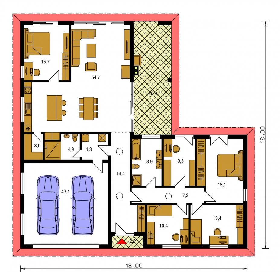 Pôdorys Prízemia - Rodinný dom do tvaru L s terasou.