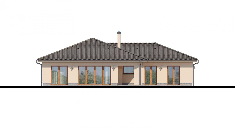 Pohľad 3. - Rodinný dom do tvaru L s terasou.